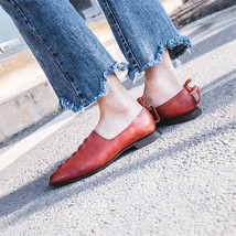 Thick Women Leather Woman Fashion Retro Dres Heel FEDONAS Shoes Genuine Fashion w1Y1qt