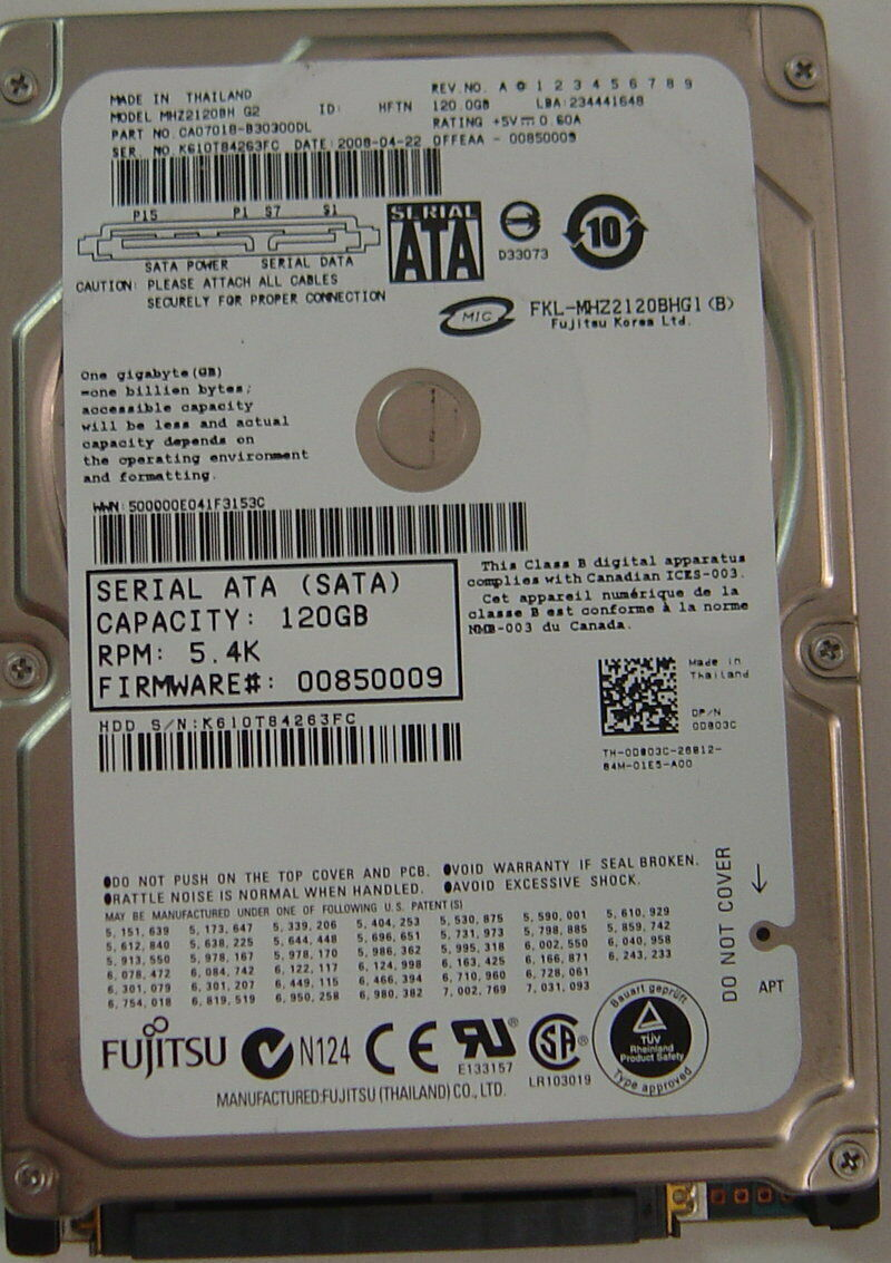 NEW Fujitsu - MHZ2120BH 120GB SATA 2.5in Hard Drive Free USA Shipping