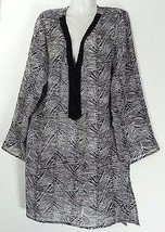 Swimsuitsforall Beaded Tunic Top COVER-UP M Medium 10 12 Nwt New Black & White - $37.39