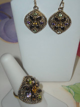 Ring Vermeil 925 Multi Gemstone (9) & Matching Thick Wired Earrings Set - $48.95