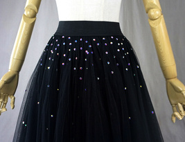 Black Tulle Layered Skirt High Low Tiered Tulle Skirt for Adults Layered Tutu  image 5