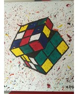 ORIGINAL RUBIK'S CUBE 80's INSPIRED ACRYLIC PAINTING. ARTIST DIRECT!! - $94.95