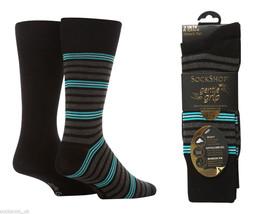 2 Pares Mens Sockshop Agarre Suave Negro / Azul Triple Stripe Cotton Socks 7-11 - $9.15