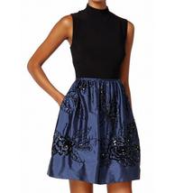 Adrianna Papell Black Women Size 2 Sequin Floral Empire Waist Dress - $108.00