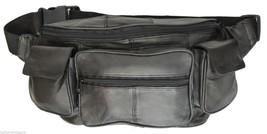 Black Leather Fanny Pack Belt Waist Hip Bag Travel Men Women Purse Organ... - $22.45 CAD