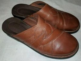 Clarks Brown Leather Slides 10 M - $31.67