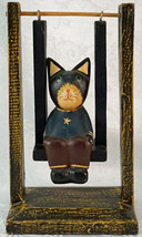 Hand Carved Wooden Cat on a Swing Figurine Works - $25.99