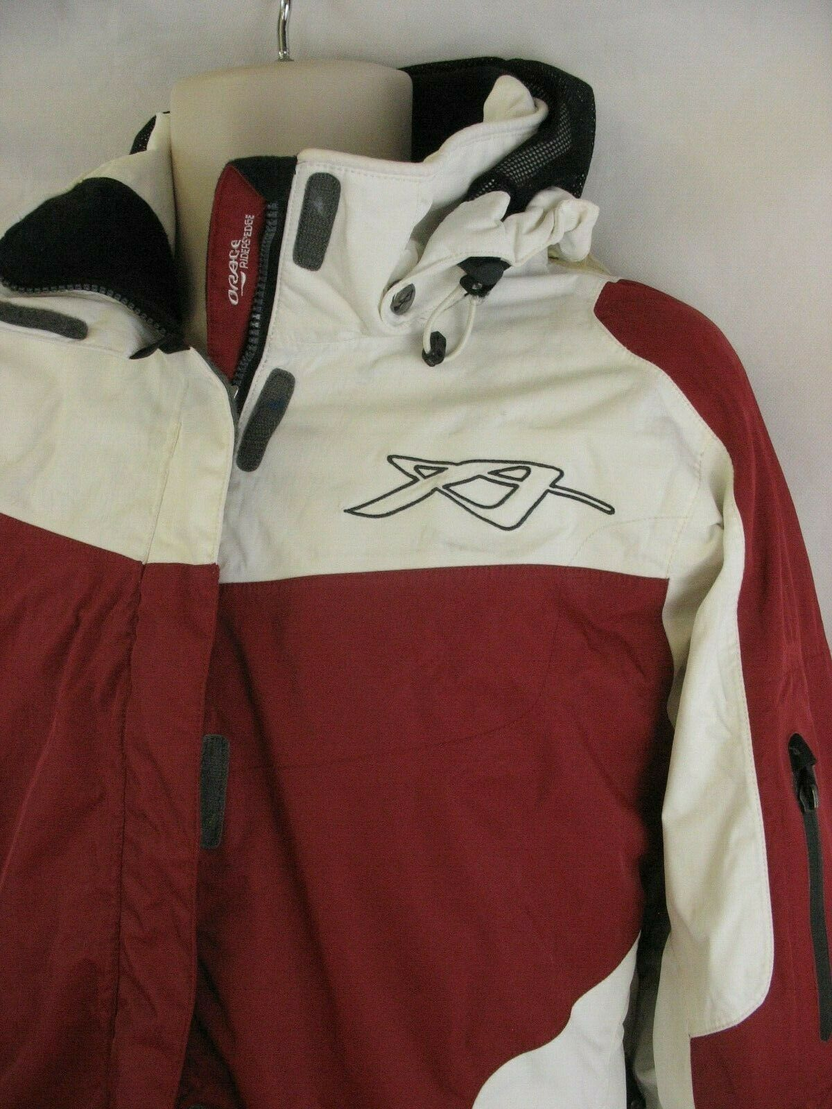 Orage Riders Edge Ski Snowboard Jacket Red White Black Enhance Vision Hood Large