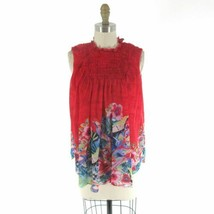 S - Deletta Anthropologie Epona Red Smocked Floral Print Flowy Tank Top ... - $32.00