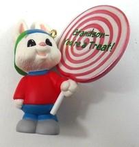 Hallmark Keepsake Ornament Grandson You're a Treat Bunny With Lollipop 1995 - $6.49