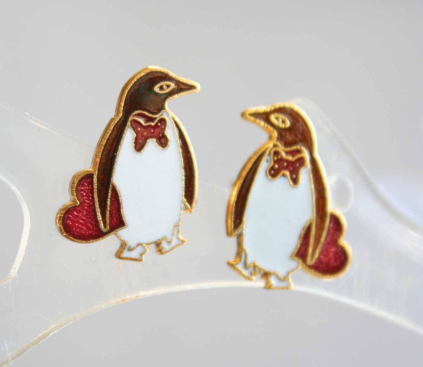 Cute Cloisonne Enamel Petite Penguin Pierced Earrings 1970s vintage - $9.95