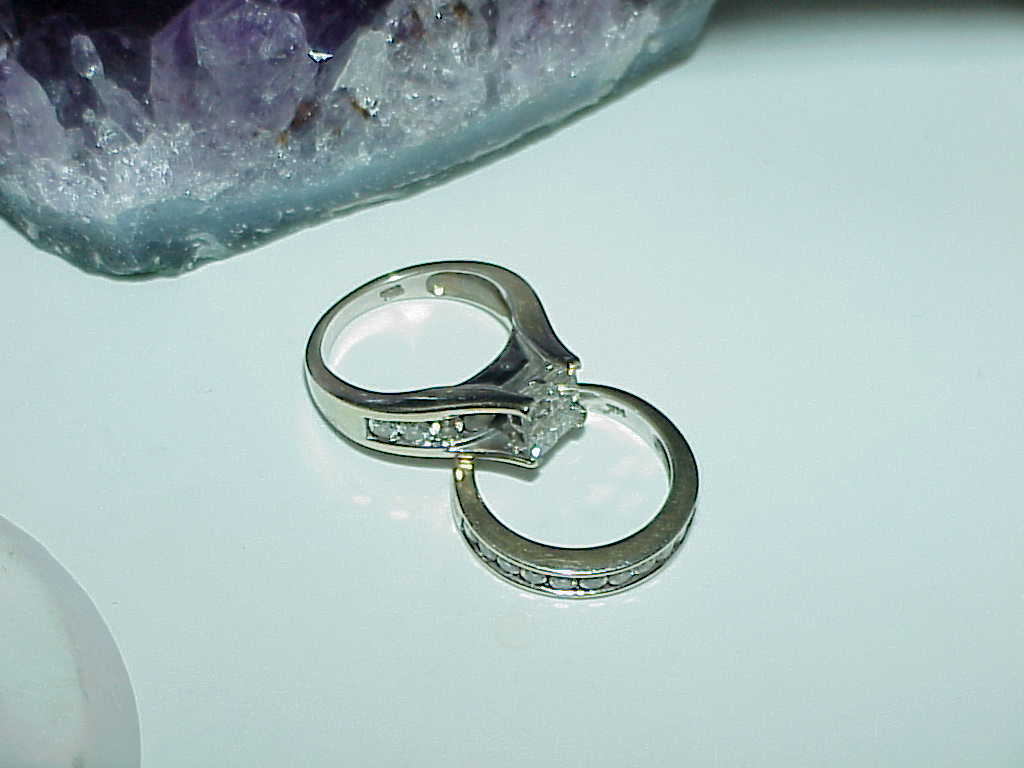 14k 1.50Ct Princess Diamond Band & Ring Set 2pc White Gold Sz 5.5 Engagement +++