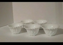 Vintage small Milk glass bowls/set of 5/footed bottom/Textured leaf pattern - $42.08