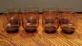 """Lot Of 8 Libbey Accent Tawny Smoke Brown Tumbler Juice Glasses 3.25"""" Tall 8oz - $19.79"""