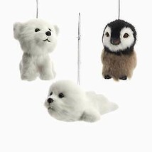 Furry Baby Penguin, Seal and Bear Ornaments, 3 Assorted w - $16.99