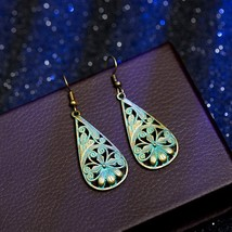 Earrings For Women Vintage Blue Copper Water Drop Ethnic Jewelry Fashion... - $4.74