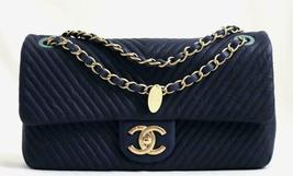 CHANEL Blue Chevre Leather Medium Medallion Charm Chevron Flap Bag AUTHE... - $3,190.33