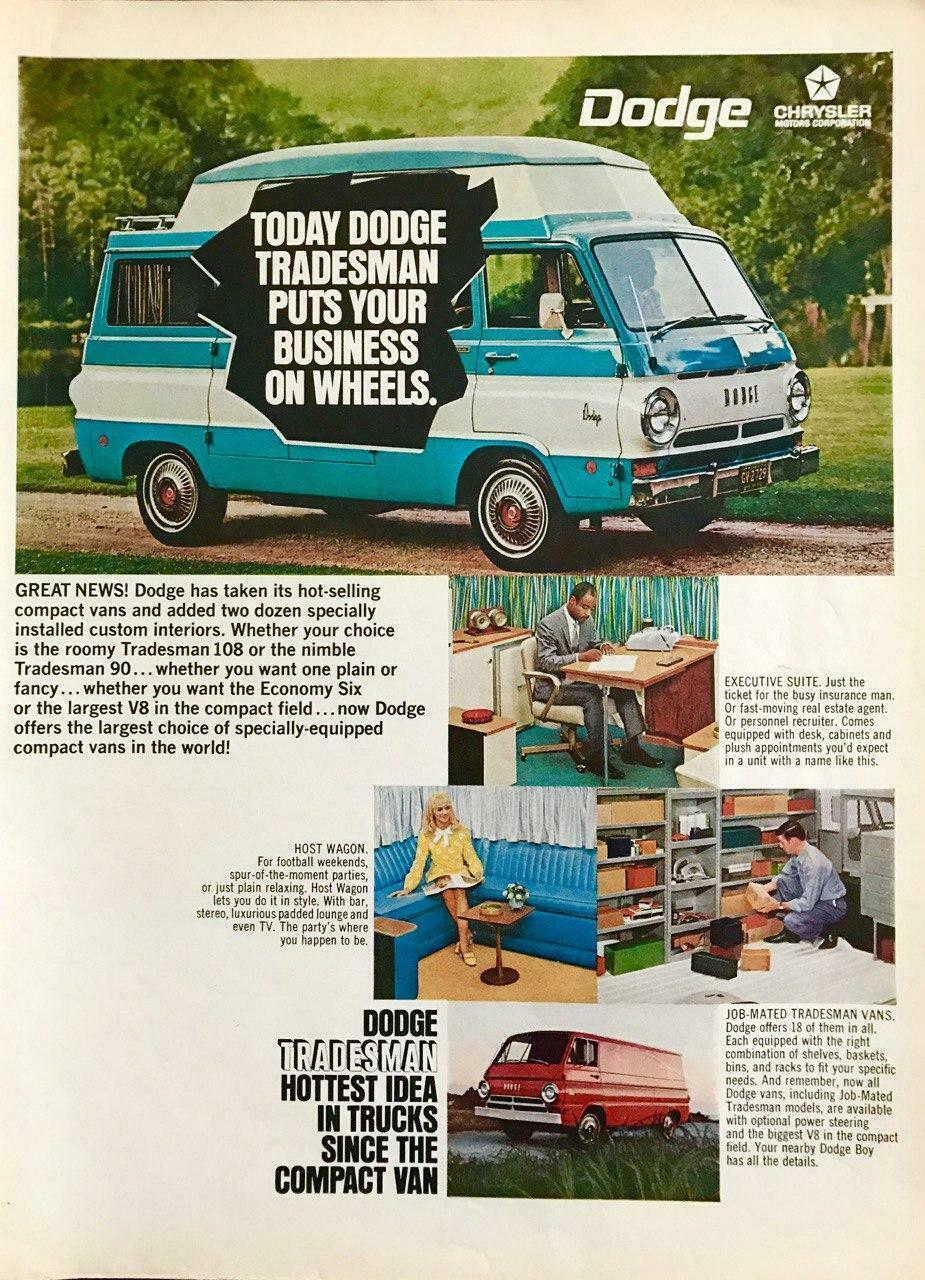 Primary image for 1968 Dodge Tradesman 108 and 90 Vans Print Ad Custom Interiors Business Leisure