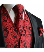 BLACK RED  XS to 6XL Paisley Tuxedo Suit Dress Vest Waistcoat & Neck tie Hanky