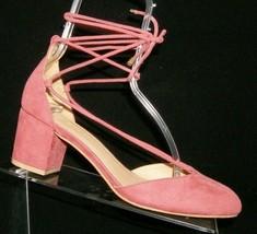 Ann Taylor LOFT pink fabric round toe ankle cross strap block heels 7M 7697 - $28.63