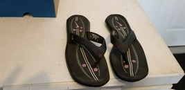 NIKE TIKI LEATHER THONG FLIP FLOP SANDALS Womens Size 8 Black w/ Flowers - $18.80
