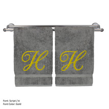 Monogrammed Washcloth Towel,13x13 Inches - Set of 2 - Gold Script - H - $27.99