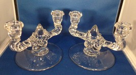 "New Martinsville - 2 Double Candle Holders Clear Crystal 5"" Tall Pretty ... - $14.85"