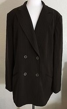 Jones New York Suit Jacket Only Size 16 Double Breasted Brown Pinstripe - $34.65