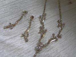 Estate Demi Clear Rhinestone Silvertone Vine with Flower Drop Necklace &... - $16.72