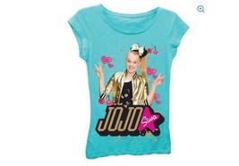 NWT Nickelodeon Jojo Siwa Girls Gold Turquoise Blue Short Sleeve Graphic... - $15.19