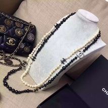 AUTH CHANEL RUNWAY 2014 DOUBLE LAYER BLACK CC WHITE PEARL NECKLACE RARE - $1,169.10