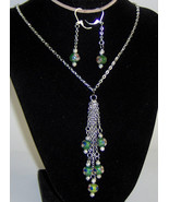 Custom Made! Green Cloisonné  Necklace and Earrings on Silver Plated Chain. - $35.95