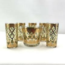 Vtg Culver 22K Gold Ice Bucket With 5 Highball / Ice Tea Glasses Valencia - $52.20