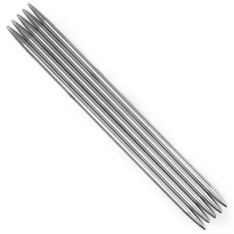 11 Sets of 5 Stainless Steel Double-Pointed Knitting Needles, Assorted Sizes