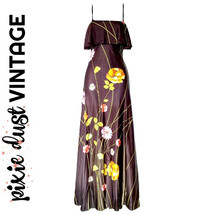 Vintage Maxi Dress Floral 60s Hippie Brown Long Strappy 1960s Sundress S... - $58.51