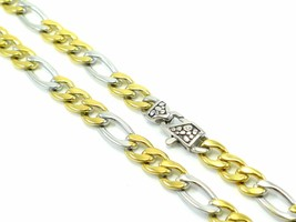 """Figaro Chain Stainless Steel Mens Necklace Link 2-Tone 24"""" Solid Polishe... - $23.33"""