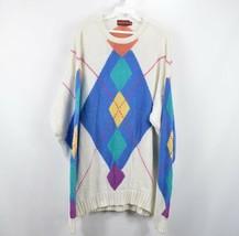 Vintage 90s Chaps Ralph Lauren Mens XL Argyle Pastel Crewneck Sweater White - $38.56