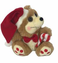 "MTY International Christmas Bear 10"" Plush Candy Came Santa Hat Rosy Che... - $13.85"