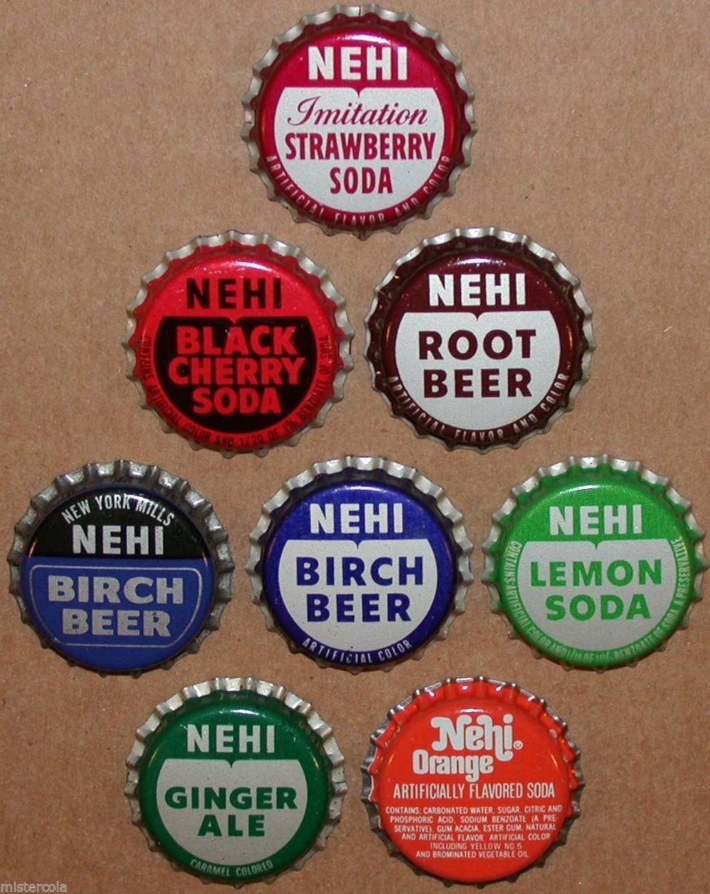 Primary image for Vintage soda pop bottle caps NEHI Collection of 8 different unused new old stock