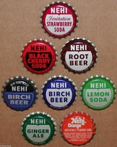 Vintage soda pop bottle caps NEHI Collection of 8 different unused new o... - $8.99
