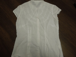 LADIES ANNE TAYLOR Button Up Cap Sleeve Collared WHITE SHIRT Size 6 Petite - $9.89