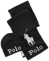 Polo Ralph Lauren Jacquard Hat & Scarf Set Black / White - $79.27