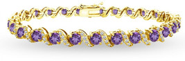 GemStar USA Yellow Gold Flashed Sterling Silver African Amethyst 4mm Rou... - $224.19