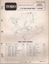 Toro 11HP Rear Engine Rider Parts Catalog Model 56155 Serial 6000001 And Up - $9.99