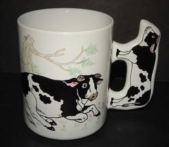 Cow Coffee Tea Mug with Cow Handle White Dairy Farm Multi-Color Barnyard... - $19.79