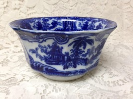 Antique, England, Variant Flow Blue Willow Rice-Fruit Bowl 3.25in T x 6.... - $23.65