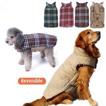 2017 Waterproof Reversible Dog Jacket Designer Warm Plaid Winter Dog  - $64.00