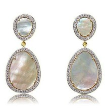 """White Mother of Pearl Stud Earring Gold over Sterling 2"""" Long  silver 925 - $137.60"""