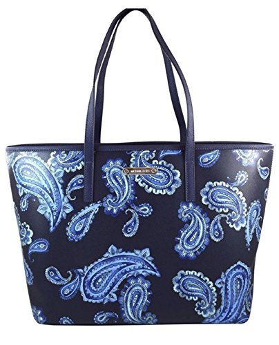Primary image for MICHAEL Michael Kors Emry Admiral Blue Paisley Saffiano Leather Large Tote
