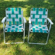 Vintage Pair Folding Aluminium Webbed Lawn Chairs Green White Plastic Arms  - $42.08